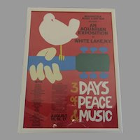 Vintage Woodstock Framed Tour Poster 3 Days of Peace & Music