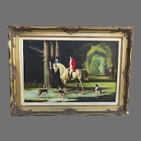 Signed Oil on Canvas by Jack Smith 20th Century Fox Hunt Scene Horses