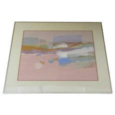 """Large Signed Dated Polychrome Acrylic Collage by Dorothy A. Talbott """"Linear Landscape"""" 1984"""