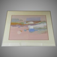 "Large Signed Dated Polychrome Acrylic Collage by Dorothy A. Talbott ""Linear Landscape"" 1984"