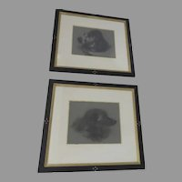 19th century Two Charcoal Drawn Dogs Golden Retriever and Russian Wolfhound Two matted