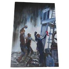 Vintge Oil on Canvas of Roughnecks Hitting Oil Oilfield