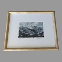 Spring Mountain Print Abstract Watercolor Art Blue Navy Blue Mountains Decor Signed