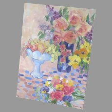 1980's Painting on Board Flower Bouquet Signed Dated