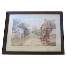 Montmartre T2 Rue de L'abreuvoir Art Piece Signed Watercolor