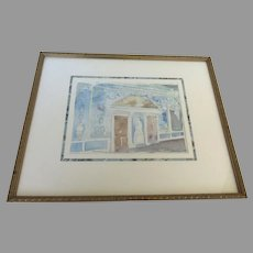 The Long Gallery Castleton House Water Color Signed by Helen Crocket Interior Design