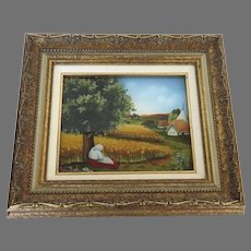Summer Reverse Painting on Glass by Ljuba Stolfa made in 1984 Farm Tree Lady Barn Wheat