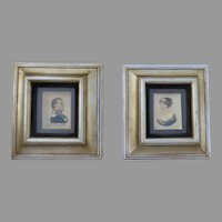 Pair of Vintage  Plaster Wall Plaques Napoleon and Maria Louisa Empress in Silhouette Deep Frames Shadowbox Hand Painted