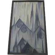 Vintage Gothic Spires Steeples Painting of Artist Board signed Mary Agnes Coleman Atmospheric