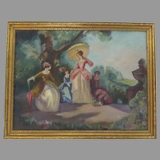 Absolutely Charming Painting of French Scene Framed Signed Dated 1940
