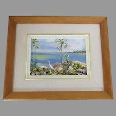 Small Painting FloridaTropical Ibis Egret Heron by Wladimir Smirnoff, Canada 1917-2000