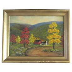 Charming Primitive Painting on Artist Board Signed Dated 1955 Barn House Autumn H. W. Dutton
