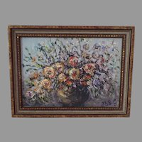 Vintage Very Small Floral Still Life Painting Signed Impasto
