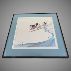 Signed Numbered Lithograph by Bo Sterk Board Bird Penguins