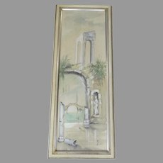 """Watercolor """"Solitude"""" by Gina Rudolf Lesch Fine Art Mid Century Hollywood Regency Framed Architectural Ruins"""