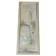 "Watercolor ""Solitude"" by Gina Rudolf Lesch Fine Art Mid Century Hollywood Regency Framed Architectural Ruins"