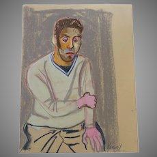 Original Pastel Handsome Man Signed Framed