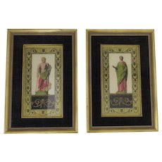Two (2) Vintage Glass Paintings Reverse Painted Art Artglass Roman Classical Figures by Sungott Art Studios, New York