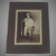 Original Lithograph by California Artist Sylvia Immel Signed and Numbered Little Boy Fishing with Creel Framed Matted