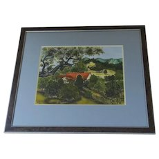 Charming Vintage Folk Art Painting Hills House Texas Area Signed Dated 1960