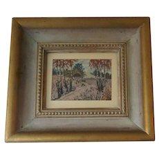 Charming Handmade PETIT POINT Needlework Picture English Cottage Framed