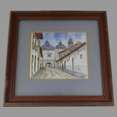 "Small Framed Painting On Canvas Arco De Sto. Domingo, Quito, Equador by ""R. Salguero"""