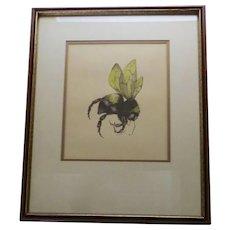 "Vintage Hand Colored Print ""Bee"""