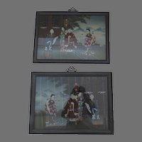 Pair of Vintage Chinese Reverse Painted Paintings Framed Mirror Images