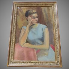Mid Century Painting Portrait by Beret Hollander  (1911 - 1998) Signed Newcomb Macklin Frame