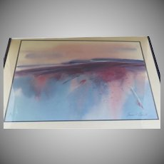 Large Abstract Watercolor by Lawrence C. Goldsmith Signed