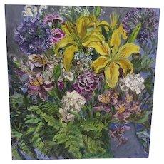 Vintage Oil on Canvas Lilies