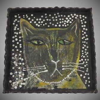 "Original Painting by Sarah Kiser Whimsical Cat ""Black Cat"""