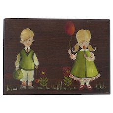 Vintage Painting on Board Children Boy Girl Signed and Dated 1970