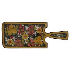 Wooden Cheese Cutting Board Russian Folk Art Khokhloma Handmade Strawberries