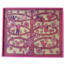 Very Retro Batik Framed Painting Tree with Animals, Birds, People and Pop Art Flowers Signed Dated 1972 Pinks