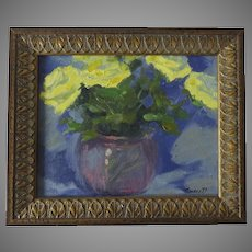 Oil on Canvas Still Life Flowers by Gregg Russell Framed