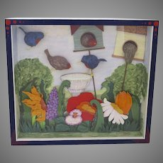 Multi Media Shadow Box 3 Dimensional Birds Birdhouse Birdbath Garden by Millie Roberg