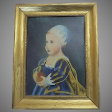 Vintage Painting Elizabethan Style Child with Fruit Gilt Frame