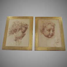 Prints of Sketches by Andrea del Sarto Mounted by F.LLI ALINARI Italy Gilt Frames