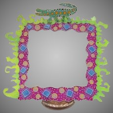 Folk Art Fun Whimsical Mirror Painted Alligator