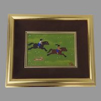 "Signed Painting by Merry Kohn ""Some Fun"" Horses Dogs Children"