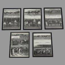 5 x Vintage 1960's Black and White Photos Race Horses Fonner Park