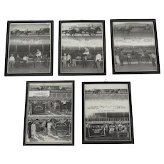 5 x Vintage 1960's Black and White Photos Race Horses Fonner Park