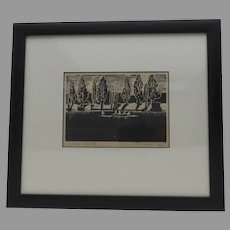 Vintage Signed Dated Woodblock Canal by Suzuki 1990