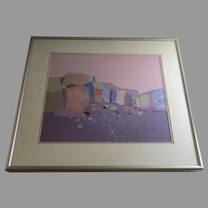 """Signed Dated Polychrome Acrylic Collage Cubist Squares and Shapes by Dorothy A. Talbott """"Cliffs"""" 1988 (A.1633)"""