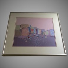 "Signed Dated Polychrome Acrylic Collage Cubist Squares and Shapes by Dorothy A. Talbott ""Cliffs"" 1988 (A.1633)"