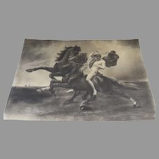 Charcoal Drawing Nude Man on Horseback Horse