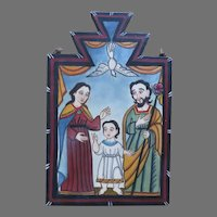 "2006 Signed by James M. Cordova ""La Santa Familia"" Painting on Board Religious Bultos Retablos"