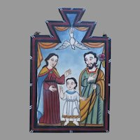 "2006 Signed by James M. Cordova ""La Santa Familia"" Painting on Board Religious Bultos Retablos"