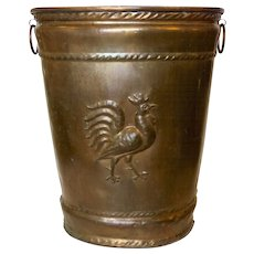 Large French Copper Stick Stand Umbrella Waste Basket Bucket 19th Century Rooster Country Kitchen Farm House